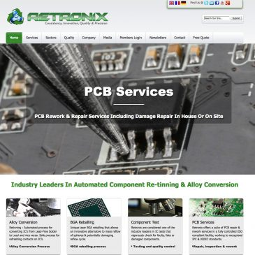 Retronix PCB. CMS Website Design & corporate branding | Design Glasgow